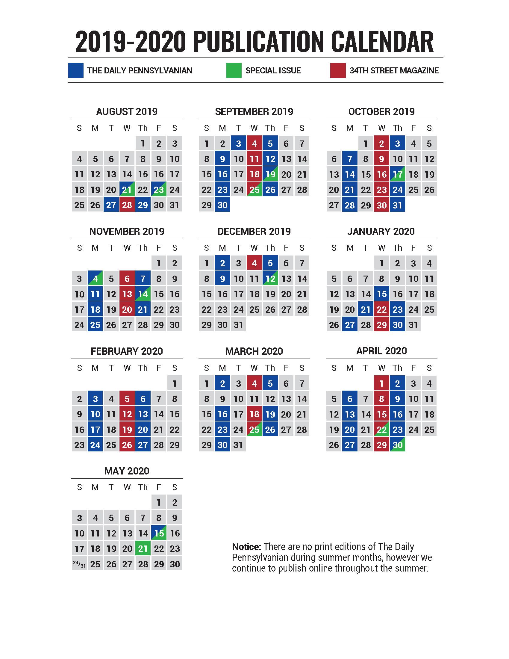 2019-2020 Publication Calendar